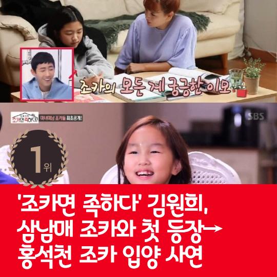 지난주 핫이슈, '조카면 족하다' 김원희, 삼남매 조카와 첫 등장